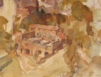 A Farm at Les Baux, Provence - William Russell Flint