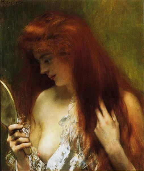 Young Red Head Gooming Herself - Henri Gervex