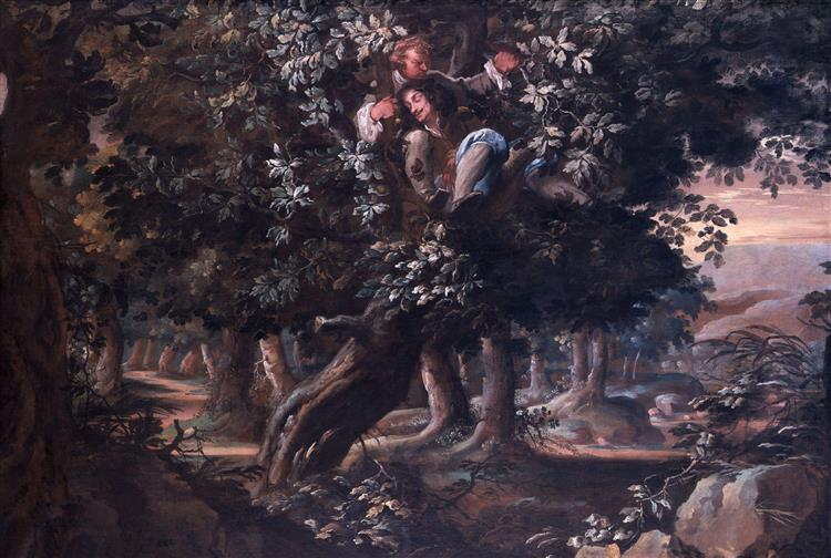 King Charles II and Colonel William Carlos in the Royal Oak - Isaac Fuller
