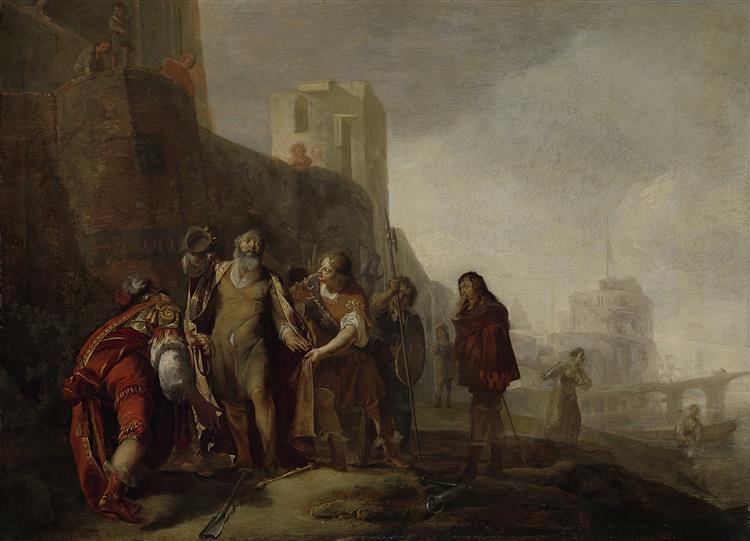 De Gezanten Van Alexander De Grote Bekleden De Tuinman Abdalonymos Met De Insigniën Der Koningswaardigheid Van Sidon, c.1630 - c.1649 - Nikolaus Knüpfer