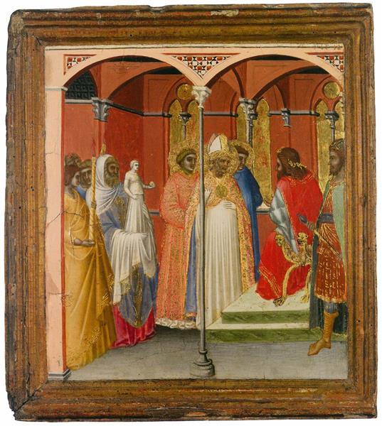 St Sabinus Before the Roman Governor of Tuscany, 1342 - Pietro Lorenzetti