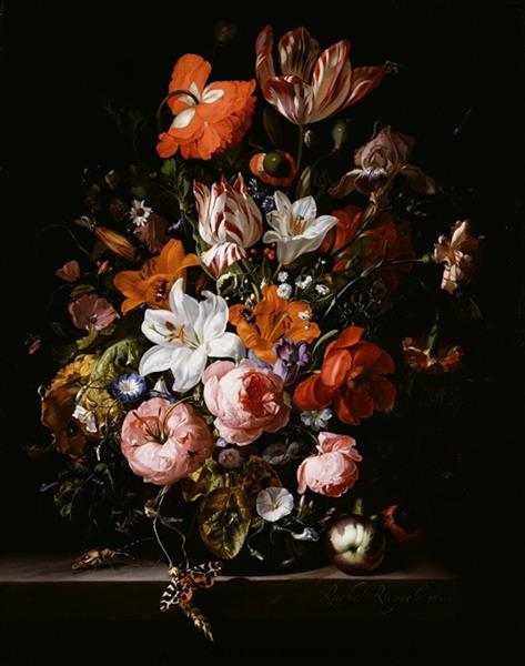 Flowers In A Glass Vase On A Marble Table 1704 Rachel Ruysch