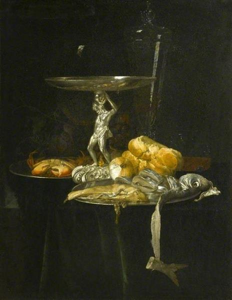 Still Life of a Silver Tazza with a Wine Glass, Crab, Herring, Bread and Onion on Pewter Dishes with Grapes Arranged on a Ledge, 1682 - Willem van Aelst