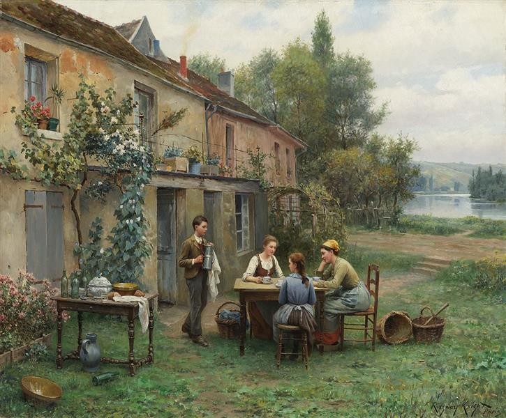 Coffee in the Garden - Daniel Ridgway Knight