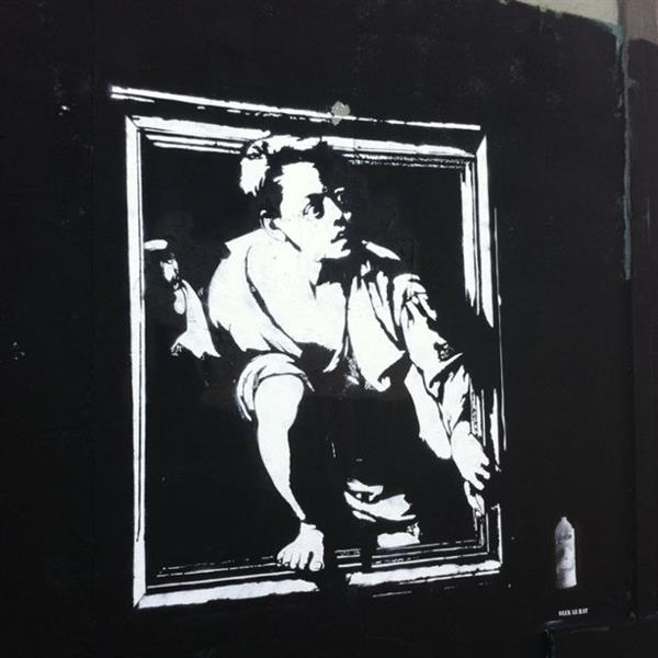 Stencil on Market and Franklin, San Francisco - Блек ле Рат