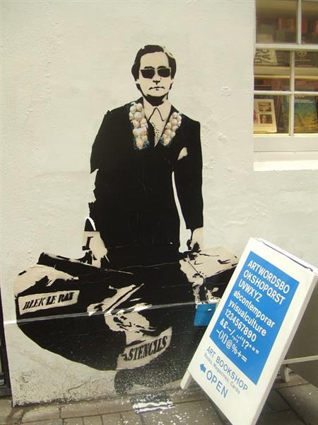 Stencil on Rivington Street, Shoreditch, London - Blek le Rat