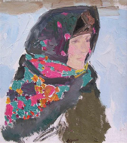 Portrait of a Woman in a Kerchief, c.1970 - Alla Horska