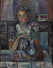 Femme Au Bouquet De Fleurs - Pinchus Kremegne