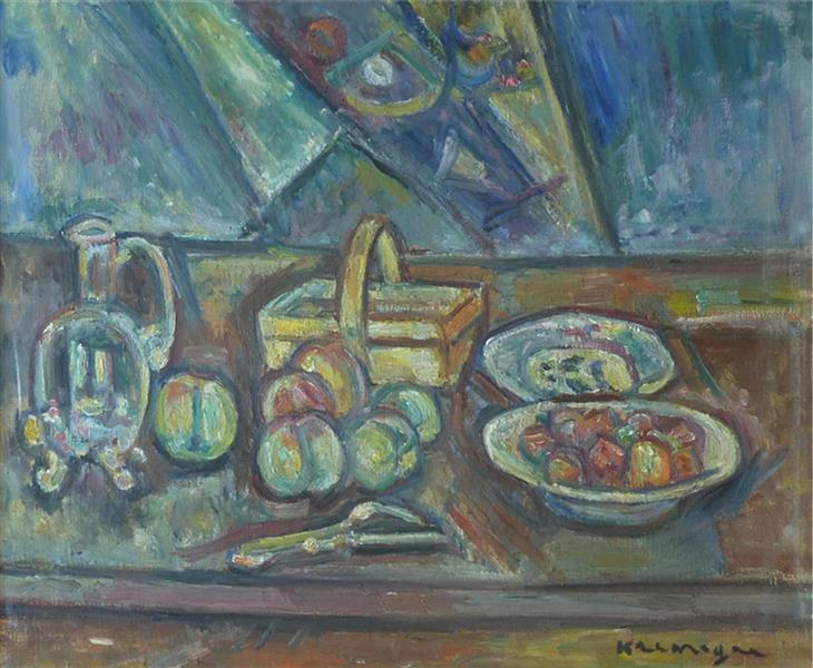 Still Life with Basket, Jug and Fruits - Пинхус Кремень