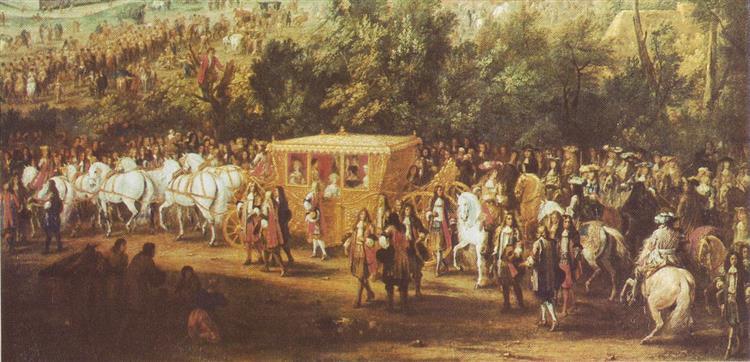 Louis Xiv and Queen Marie Thérèse in Arras 1667 During the War of Devolution, 1667 - Adam van der Meulen