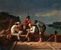 In a Quandary, Or Mississippi Raftsmen at Cards - George Caleb Bingham