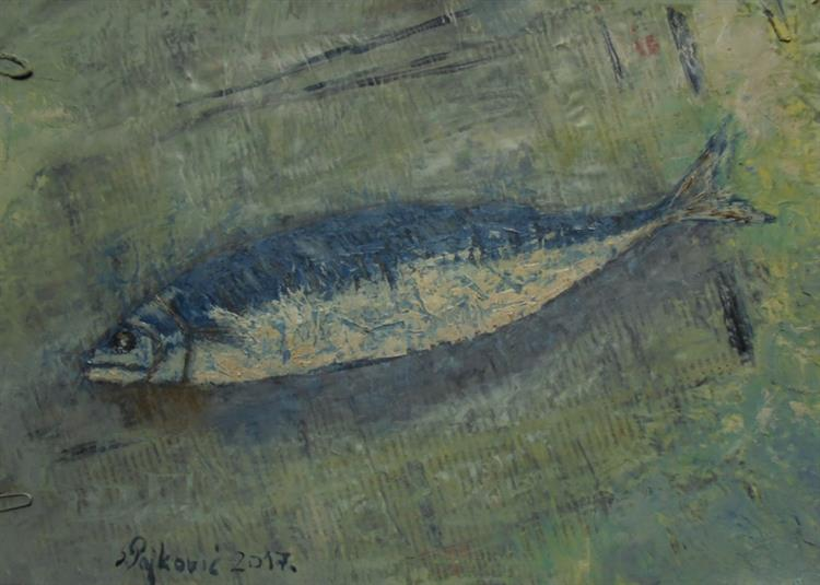 Fish on Newspaper - Sloba Pajkovic