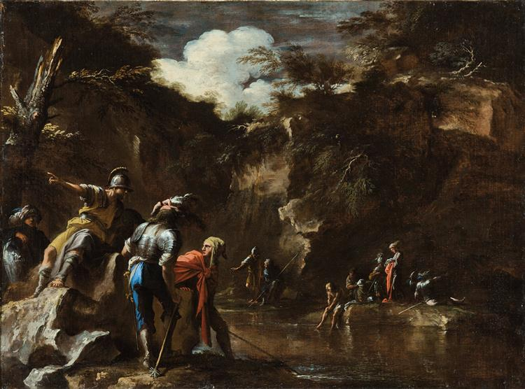 Thales Causing the River to Flow on Both Sides of the Lydian Army - Salvator Rosa