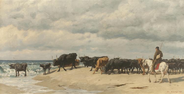 herd of Cattle Beside the Sea, 1878 - Eugène Burnand