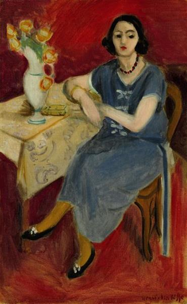 Woman in Blue at a Table, Red Background, 1923 - Henri Matisse