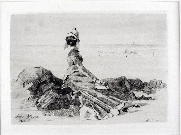 Femme assise sur un rocher, 1874 - Луиза Аббема