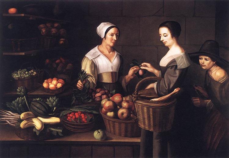 Market Scene with a Pick-pocket - Louise Moillon