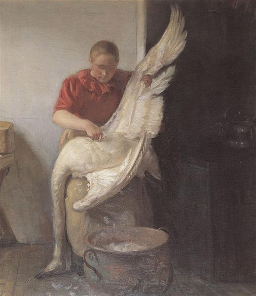 A Young Girl Plucking a Swan, 1900 - Anna Ancher