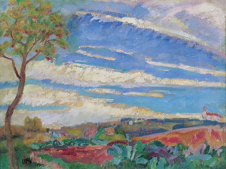 Landscape with a Red Tree - Wojciech Weiss