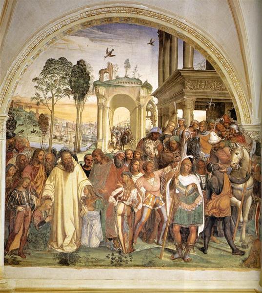 Life of St Benedict, Scene 12. Benedict Receives Maurus and Placidus, 1505 - 1508 - Il Sodoma