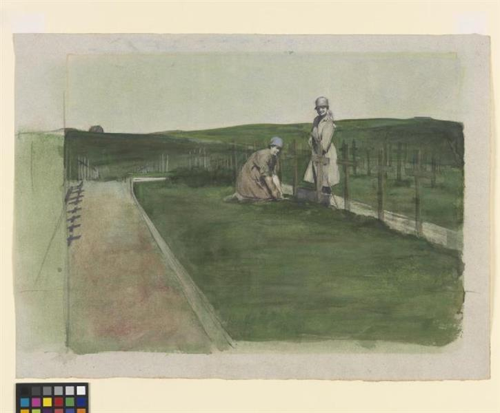 Queen Mary's Army Auxiliary Corps- Tending Graves at Wimereux Cemetery - Austin Osman Spare