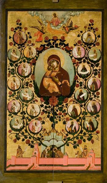tree of the Moscow State (praise of Our Lady of Vladimir), 1668 - Simon Ushakov
