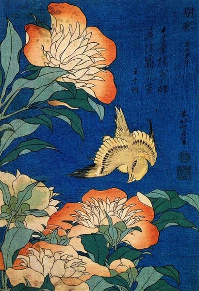 Канарка і пеон, 1834 - Кацусіка Хокусай