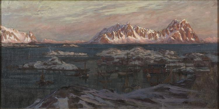 Fishing Harbour with Sunlit Mountains. Study from North Norway - Anna Katarina Boberg