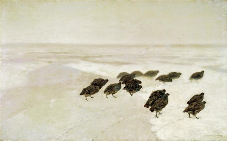 Partridges in the snow, 1891 - Юзеф Хелмоньский