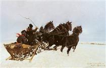 Four in Snowdrifts - Józef Chełmoński
