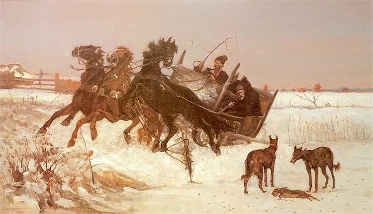 Three in the Snow, 1875 - Józef Chełmoński