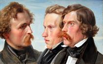 The Painters - Karl Friedrich Lessing, Carl Sohn and Theodor Hildebrandt - Carl Friedrich Lessing