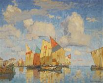 Boats in a harbour - Konstantin Ivanovich Gorbatov