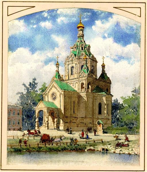 The church of St Nicholas at the Malaya Neva river, 1880 - Albert Benois