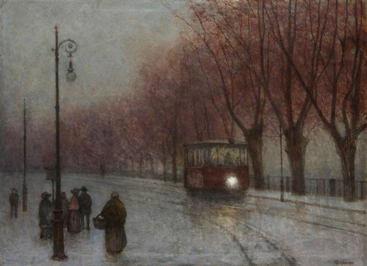 River Bank with Tram - Якуб Шиканедер