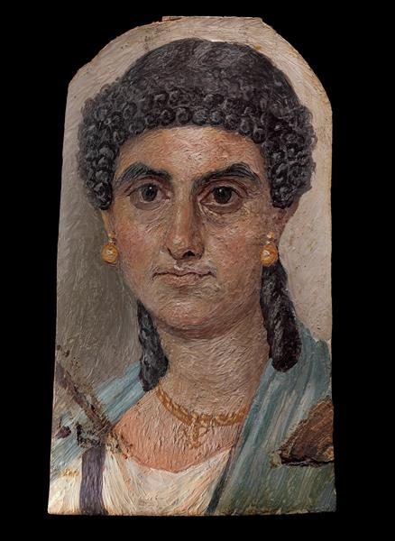 Panel Painting of a Woman in a Blue Mantle, 68 - Fayum portrait