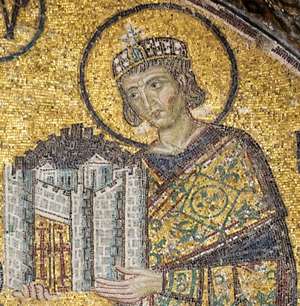 Emperor Constantine I, Presenting a Model of the City to the Blessed Virgin Mary - Byzantine Mosaics