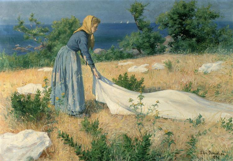 Pyykinkuivatusta, 1896 - Elin Danielson-Gambogi