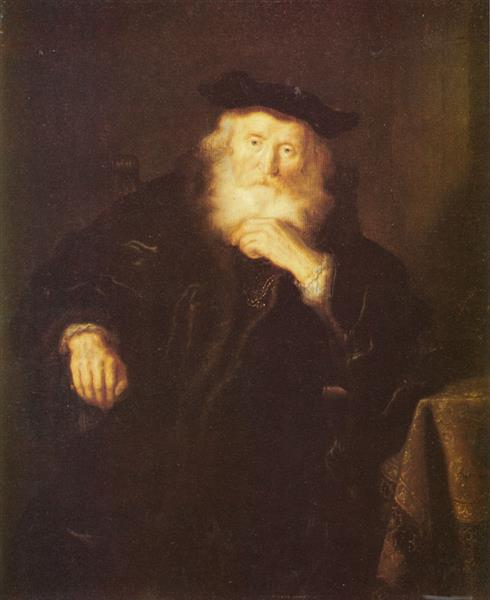 An Old Man Thinking - Salomon Koninck