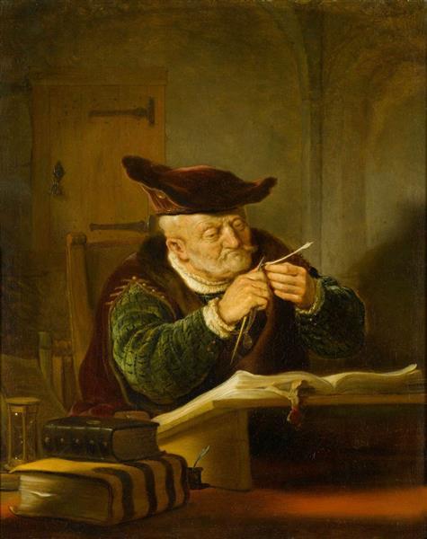 A Sholar sharpening his Quill - Salomon Koninck