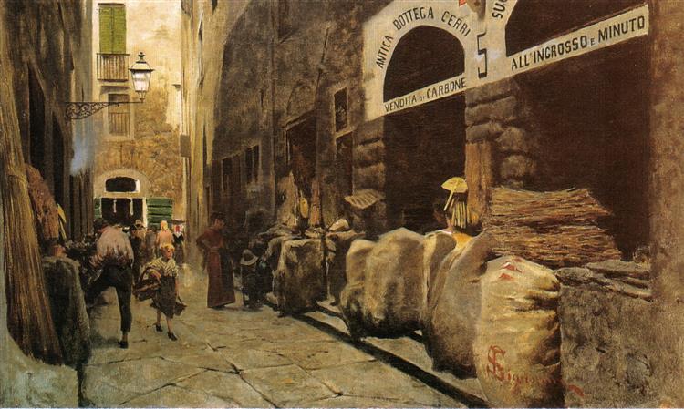 La via del fuoco, c.1881 - Телемако Сіньйоріні
