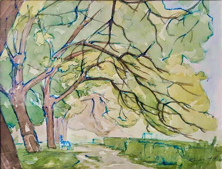 "In the spring in the park ""near the children's pendulum"" (early plein-air work), 1992 - Alfred Krupa"