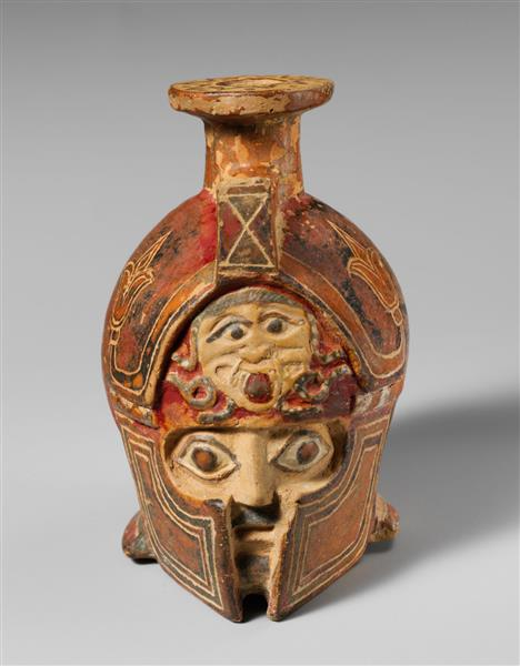 Terracotta Aryballos in the Form of a Helmeted Head, c.575 BC - Cerâmica da Grécia Antiga