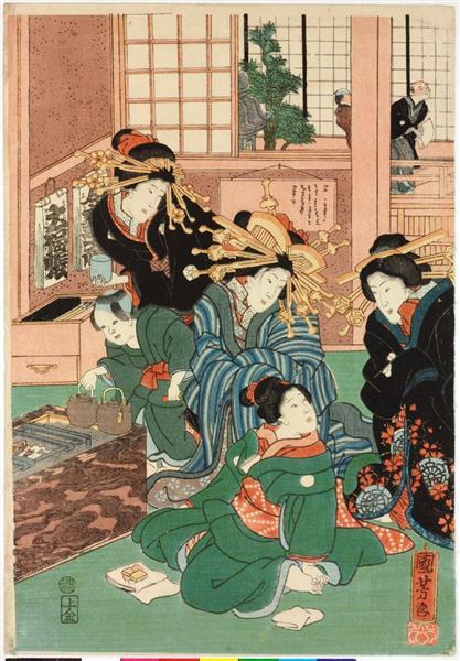 Flowers of Edo (Center), c.1860 - Utagawa Kuniyoshi