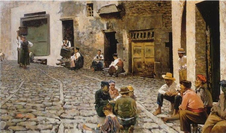 Chiacchiere a Riomaggiore - Telemaco Signorini