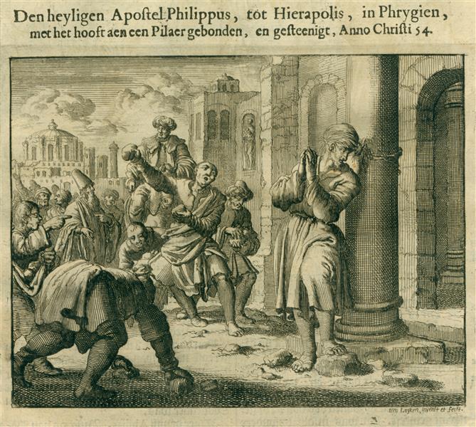 Stoning of Apostle Philip, Hierapolis, Phrygia, AD 54, 1685 - Jan Luyken