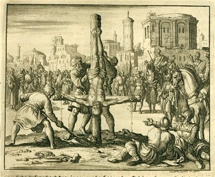 Crucifixion of Apostle Peter, Rome, AD 69 - Jan Luyken