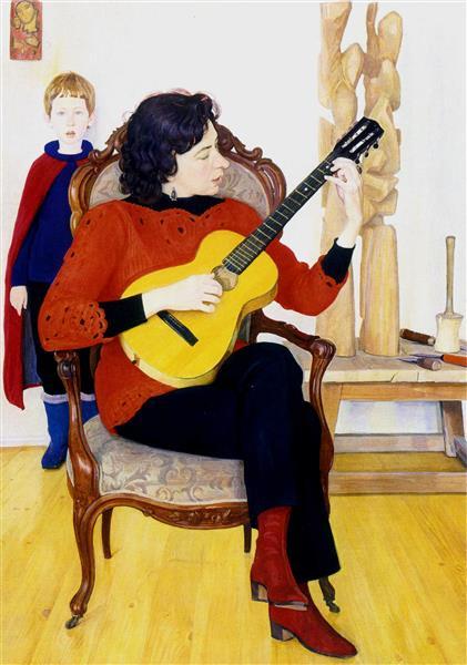 Portrait of Pavlova with guitar - Dmitri Zhilinsky