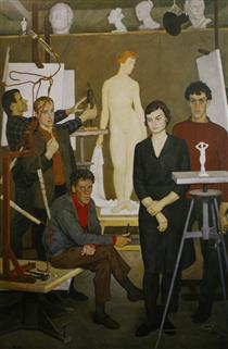 Students. In the sculpture studio - Dmitri Zhilinsky