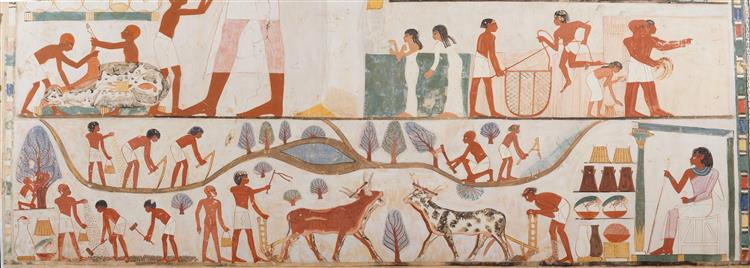 Agricultural Scenes, Tomb of Nakht, c.1400 - c.1390 BC - Ancient Egyptian Painting